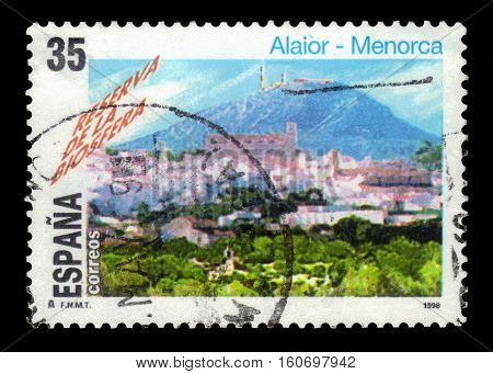 SPAIN, CIRCA 1998: stamp printed in Spain , shows UNESCO Site: Biosphere Reserve, Alaior, Minorca with Mount Toro behind, circa 1998