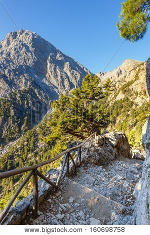 Early morning in Samaria Gorge on Crete Greece