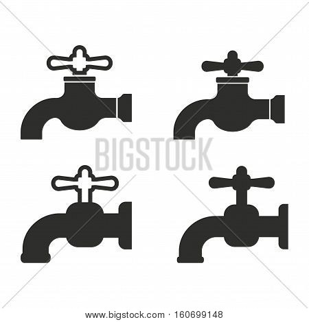 Faucet vector icons set. Illustration isolated for graphic and web design.