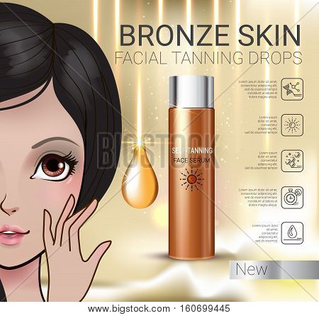 Tanning facial serum ads. Vector Illustration with Manga style girl and Sun drops bottle.