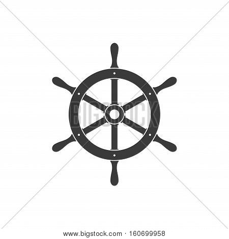 Ship helm icon isolated on white background. Yacht steering wheel vector