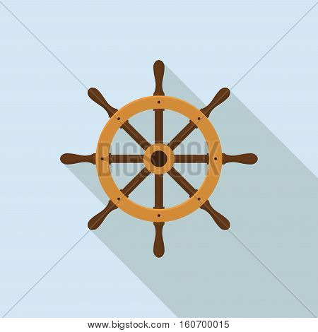 Ship helm isolated on white background. Yacht steering wheel vector in flat style