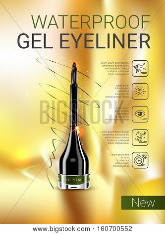 Gel Eyeliner ads.Vector Illustration with gel eyeliner container.