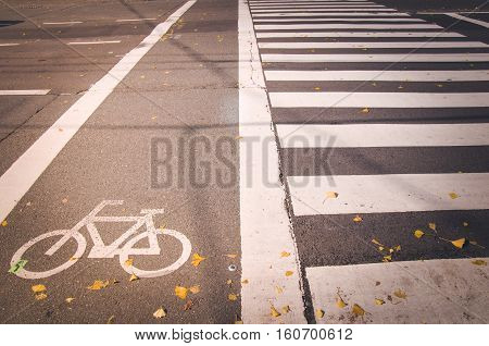 Mark of a bicycle zone and Pedestrian crossing Japan