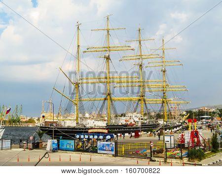 VARNA, BULGARIA - OCTOBER 04, 2016: Black Sea Tall Ships Regata 2016. Barque Kruzenstern mooring in the Sea Port Varna, Bulgaria