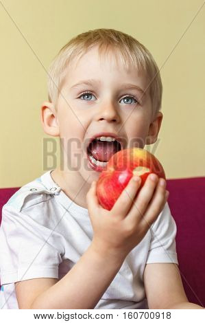 Beautiful Little Boy Eats An Apple, Eat A Piece Of Fruit To Enjoy