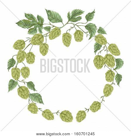 Wreath with hops. Floral composition with hop cones, leaves and branches. Isolated elements. Vintage hand drawn illustration in watercolor style.