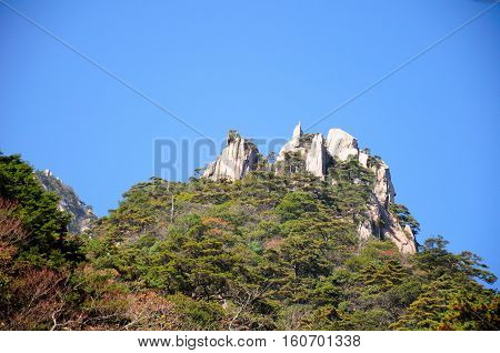 The dramatic rock formations of the Huangshan or the yellow mountains in Anhui province China.