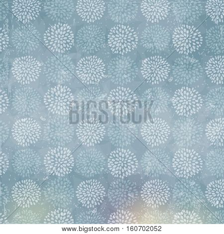 Vector floral pattern with beautiful lilac circle flowers, made of petals. Blue background with old scratched texture, dirt and spots.