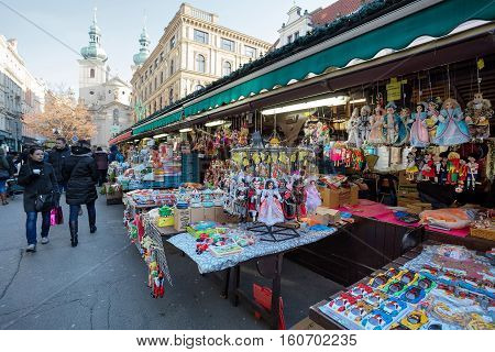 Souvenir Shop At Famous Havels Market In First Week Of Advent In Christmas
