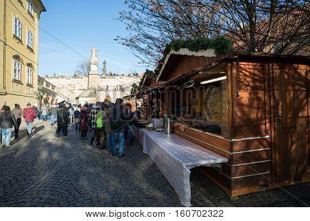 Christmas Market Under Famous Charles Bridge In Prague