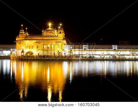 A night shot of the Golden Temple (Harmandir Sahib) in Amritsar, Punjab (India)