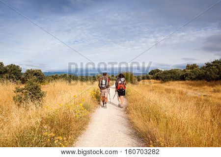 ASTORGA COUNTRYSIDE SPAIN - AUGUST 04: Pilgrimns along the way of St. James on August 03 2016