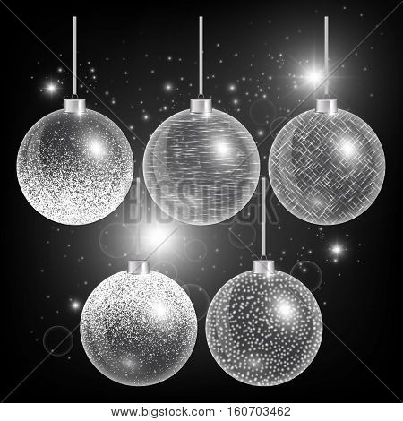 Christmas ball isolated. New year decorations. Light effect. Set of holiday elements. Vector illustration of a dark backdrop.