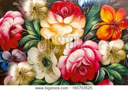 Flowers, Oil Painting, Impressionism Style, Still Life Art Colored Color Image, Wallpaper And Backgr
