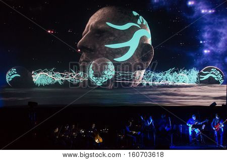 CRACOW POLAND - NOVEMBER 13 2016: Beethoven Electric 3D first to Poland the concert with effects 3D performed by the orchestra and soloists of Filharmonia Futura on stage cinemas Kiev in Cracow this connection of classics and the modern electronic sound