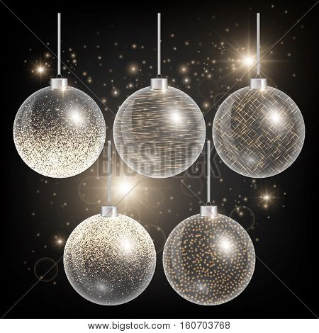 Christmas decoration ball. New year toy. Golden light. Set of holiday elements. Vector illustration of a black backdrop.