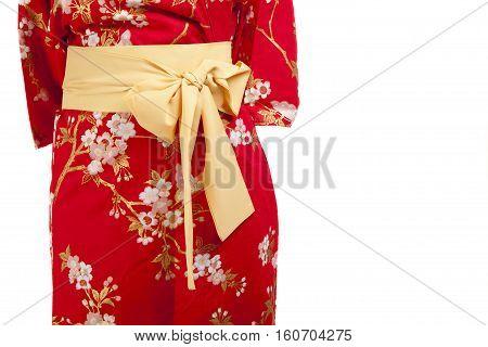 Yellow ribbon on Japanese traditional clothes of Kimono Yukata