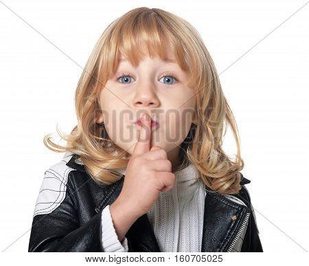 Portrait of a lottle boy asks for silent