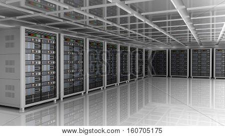 Modern interior of server room in datacenter 3D illustration