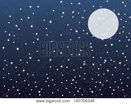 snow,stars and the moon with gradation dark blue background