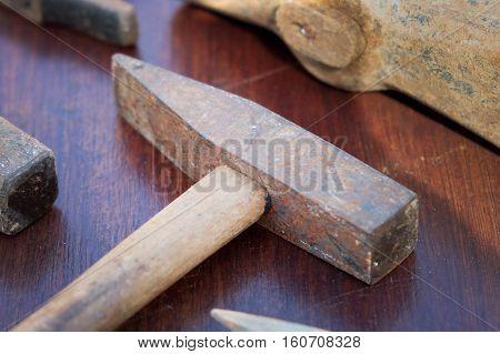vintage hammer old tool  - rusty hammer