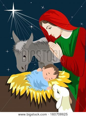 Nativity of Jesus Christ. vector illustration Christmas Christian nativity scene with baby Jesus
