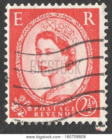 MOSCOW RUSSIA - NOVEMBER 2016: a post stamp printed in the UNITED KINDOM shows a Portrait of Queen Elizabeth II circa 1955 -1957