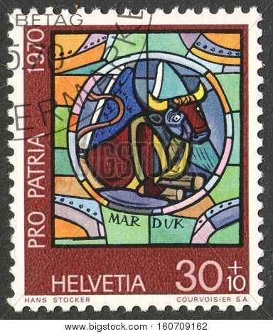 MOSCOW RUSSIA - CIRCA NOVEMBER 2016: a post stamp printed in SWITZERLAND shows