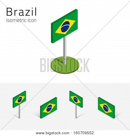 Brazilian flag (Federative Republic of Brazil) vector set of isometric flat icons 3D style different views. Editable design elements for banner website presentation infographic map. Eps 10