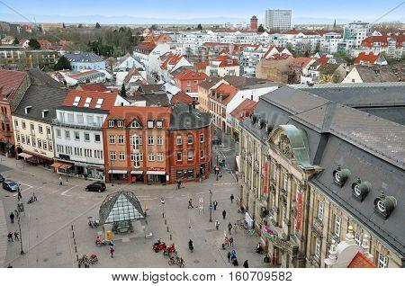 SPEYER, GERMANY - APRIL 11, 2015. Panorama of Speyer, Rheinland-Pfalz, Germany. Aerial view of the pedestrian area with landmarks.