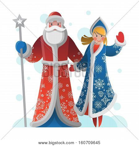 New Year greeting card with cartoon Father Frost and Snow Maiden. Christmas gift card with Santa Claus. Winter holiday Xmas postcard with Ded Moroz and Snegurochka. Vector illustration art.
