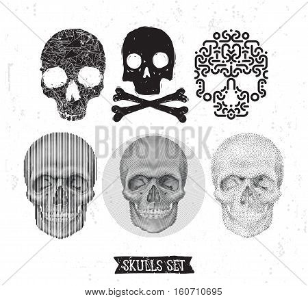 Collection Of geometric anatomical and doodle stylized skulls In monochrome. Universal vector skulls set, Illustrations for typography, textile, website, design