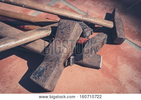 old hammers vintage tools - rusty hammer