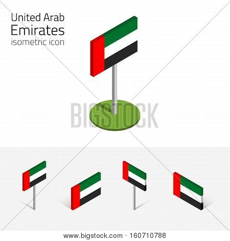 UAE flag (United Arab Emirates) vector set of isometric flat icons 3D style different views. 100% editable design elements for banner website presentation infographic poster map. Eps 10