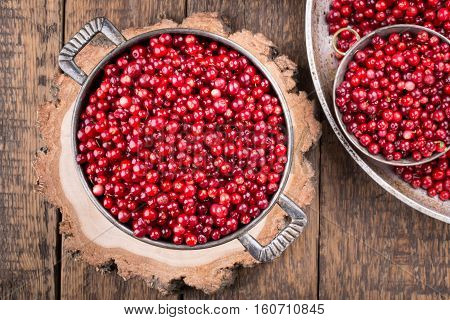 Wild cowberry (foxberry lingonberry). Red berries on vintage wooden table Top view.