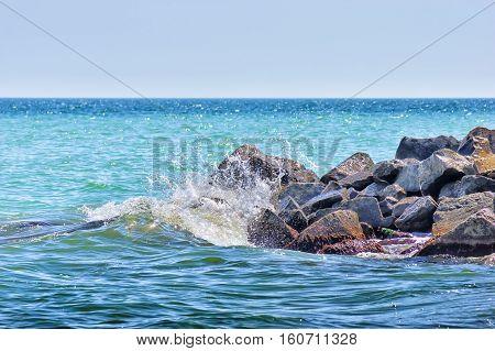 Beautiful seascape. beautiful rocky seashore. Stones on coast. Nature composition