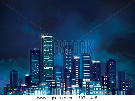 Vector  blue night city scape on sky background.