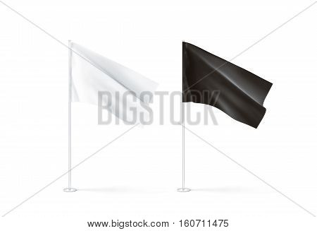 Blank black and white flag mockup set waving 3d rendnering. Clear rippled flagpole design mock up isolated. Pole with banner on wind. Business branding cloth pennon. Clean pillar logo presentation.