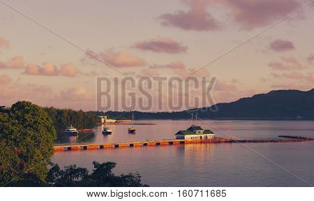 Tropical Seychelles. Ships on the island of La Digue