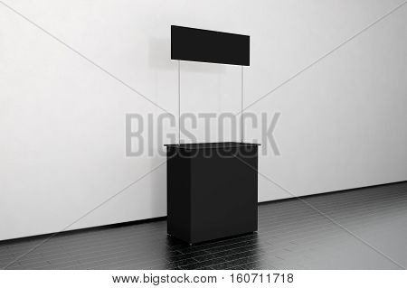 Blank black promo counter mockup stand near the wall side view 3d rendering. Empty promotional pop up exhibition mock up. Dark store portable desk template. Gray trade kiosk branding presentation.