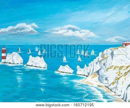 Painting of The Needles on the Isle of Wight