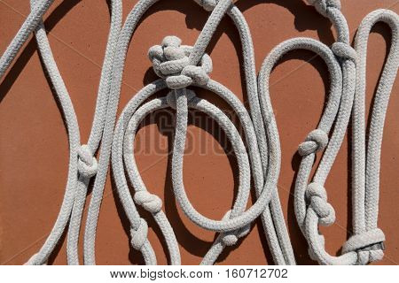 white rope with knots - white rope with knots