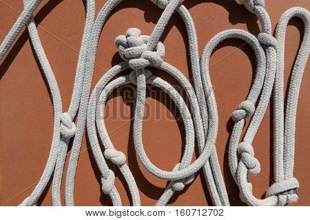 white rope with knots - white rope with knots