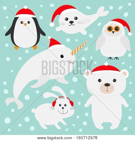 Arctic polar animal set in red Santa hat. White bear owl penguin Seal pup baby harp hare rabbit narwhal unicorn-fish. Kids Christmas cards Blue background Snow flake Flat design Vector illustration