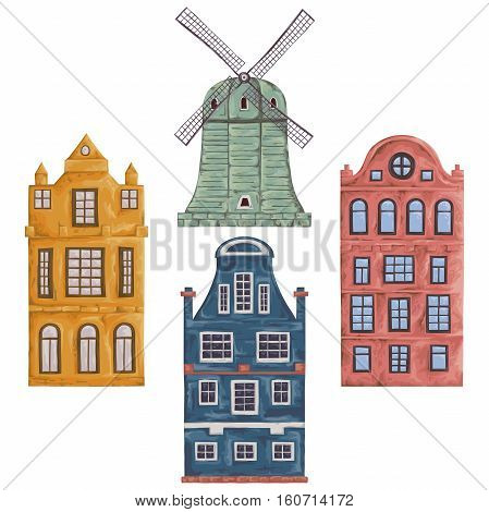 Amsterdam. Old historic buildings and traditional architecture of Netherlands. Windmill and houses. Isolated elements. Vintage hand drawn vector illustration in watercolor style.