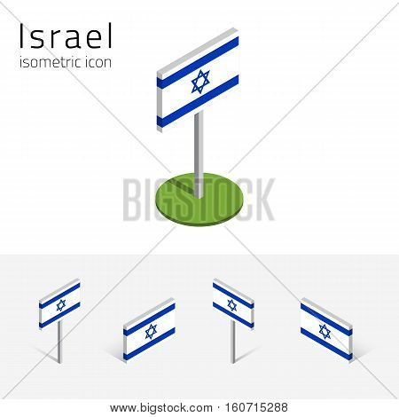 Israeli flag (State of Israel) vector set of isometric flat icons 3D style different views. 100% editable design elements for banner website presentation infographic poster map. Eps 10