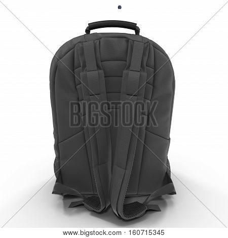 Black school backpack isolated on white background.Sport travel rucksack closeup. 3D illustration