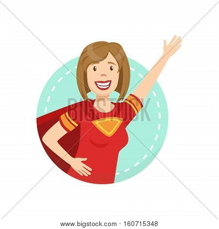 Strong Emotion Body Language Illustration. Emotional Facial Expression And Gesture With Man In Red T-shirt In Blue Round Frame .