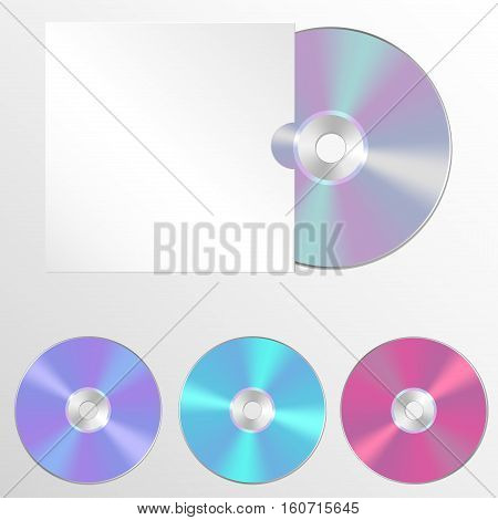 Set CD or DVD vector illustrations. Compact discs in a realistic style. Mock-up with the disc in the cover for your design project.